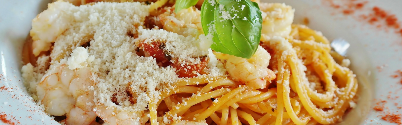 pasta and prawns 1280 x 400px